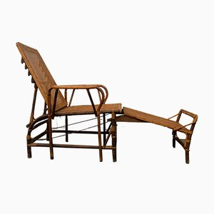 Wicker and Bamboo Chaise Lounge, 1960s