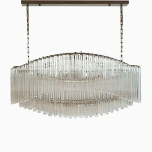 Murano Chandelier with 292 Clear Prism Quadriedri Pagoda Glass, 1982