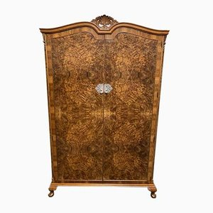 Queen Anne Burr Walnut 2-Door Wardrobe or Armoire, 1920s