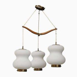 Mid-Century Deckenlampe aus Opalglas und Messing mit 3 Schüsseln von Stilnovo, 1950er