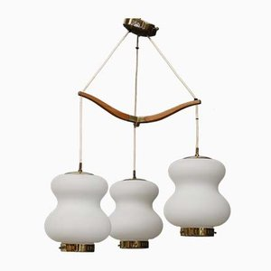 Mid-Century Opal Glass and Brass 3-Bowl Ceiling Lamp from Stilnovo, 1950s