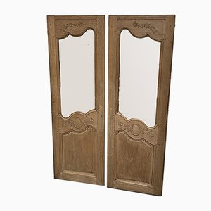 19th Century French Bleached Oak Mirrors, Set of 2