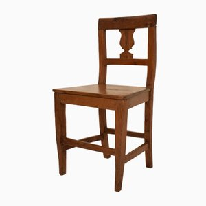 19th Century Italian Biedermeier Brown Elm and Walnut Wabi Sabi Side Chair, 1820s