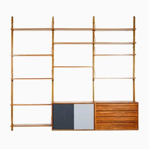 Brass & Walnut Royal System Wall Shelf by Poul Cadovius for Cado, 1960s