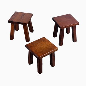 Oak Square Side Tables, 1950s, Set of 3