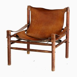 Vintage Safari Leather Armchair, 1970s