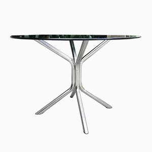 Smoked Glass Round Dining Table, France, 1970s