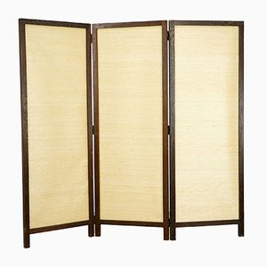 Seagrass, Cotton & Stained Oak Room Divider by Florence Knoll Bassett for Knoll Inc. / Knoll International, 1958
