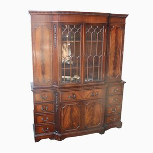 Large Mahogany Secretaire Bookcase with Glazed Top, 1960s