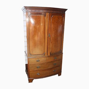Antique Mahogany Bow Fronted Linen Press with Slide, 1900s