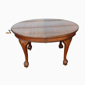 Mahogany Oval Wind Out Table with Two Leaves, 1920s