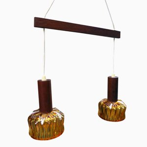 Teak and Glass Double Pendant Lamp