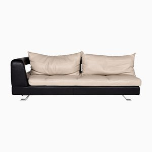 Cream and Dark Brown Leather 3-Seat Sofa from Formenti