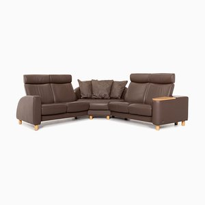 Arion Brown Leather Corner Sofa with Function from Stressless