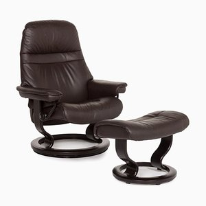 Dark Brown Consul Leather Armchair & Stool with Relax Function from Stressless, Set of 2