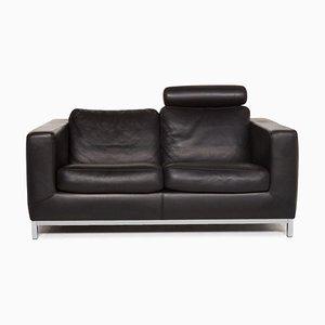 Black Leather Manolito 2-Seat Sofa from Machalke