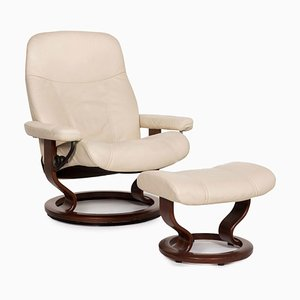 Consul Cream Leather Armchair & Stool with Relax Function by Kein Designer for Stressless, Set of 2