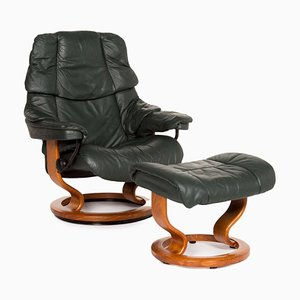 Reno Dark Green Leather Armchair & Stool with Relax Function from Stressless, Set of 2