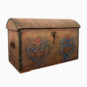 Antique Swedish Painted Marriage Chest, 1859