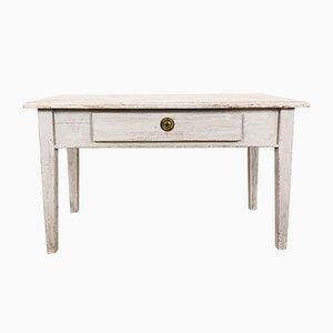 Antique Swedish White Painted Coffee Table