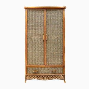 Mid-Century Bamboo & Wicker Rattan Freestanding Wardrobe