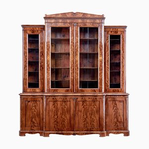 Early 19th Century Scandinavian Empire Flame Mahogany Breakfront Bookcase