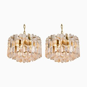 Gilt Brass and Glass Palazzo Chandeliers or Pendant Lamps by J.T. Kalmar, 1970s, Set of 2