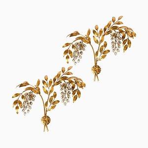 Vergoldete Metall Palmen Wandleuchten im Stil von Maison Jansen von Hans Kögl, 1960er, 2er Set