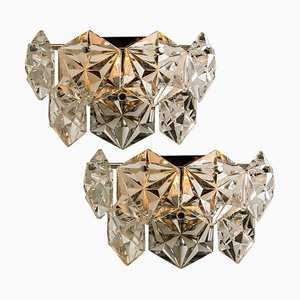 Faceted Crystal and Chrome Sconces by Kinkeldey, Germany, 1960s, Set of 2