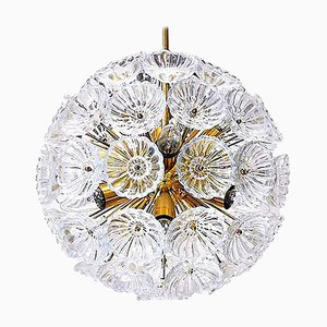 Starburst Sputnik Chandeliers with Glass Flower, Germany, 1960s, Set of 2