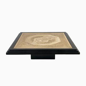 Coffee Table in Black Lacquered and Etched Brass by Georges Mathias, 1970s