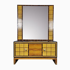 Italian Art Deco Commode with Standing Mirror, 1930s