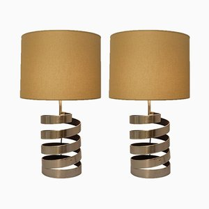 Table Lamps with Helical Base in Brushed Steel by Jacques Charpentier, France, 1970s, Set of 2