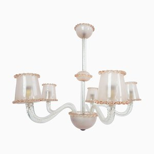 Pale Rose Massive Murano Glass 5-Arm Chandelier by Ercole Barovier, 1940s