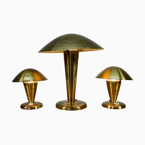 Bauhaus Brass Table Lamps, 1930s, Set of 3
