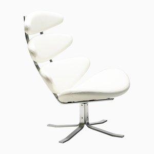 Weißer Leder EJ5 Corona Chair von Poul Volther für Erik Jorgensen, 2000er