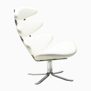 White Leather EJ5 Corona Chair by Poul Volther for Erik Jorgensen, 2000s