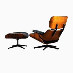 Palisander Lounge Chair and Ottoman by Charles & Ray Eames for Vitra, 1960s, Set of 2