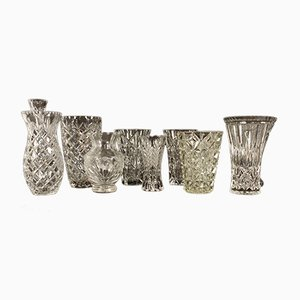 Antique Bohemian Lead Crystal Vases, Set of 10