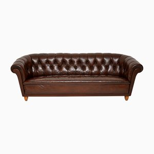 Swedish Leather Chesterfield Sofa, 1930s