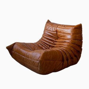 Dubai Pine Leather Togo Armchair & Corner Set by Michel Ducaroy for Ligne Roset, 1970s, Set of 2