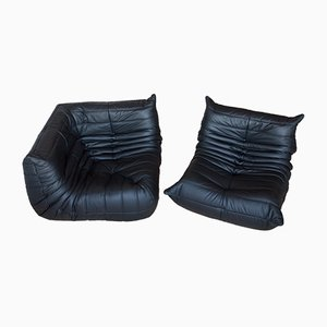 Black Leather Togo Armchair & Corner Set by Michel Ducaroy for Ligne Roset, 1970s, Set of 2