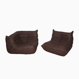 Madras Brown Leather Togo Armchair & Corner Set by Michel Ducaroy for Ligne Roset, 1970s, Set of 2