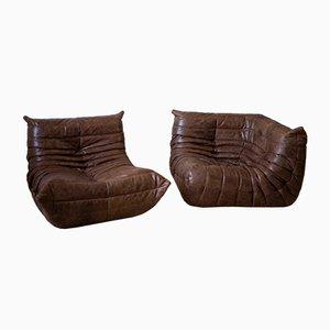 Conjunto de sofá y esquina Togo en Dubai de cuero marrón de Michel Ducaroy para Ligne Roset, años 70. Juego de 2