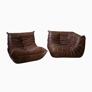 Dubai Brown Leather Togo Armchair & Corner Set by Michel Ducaroy for Ligne Roset, 1970s, Set of 2