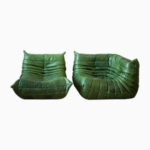 Dubai Green Leather Togo Armchair & Corner Set by Michel Ducaroy for Ligne Roset, 1970s, Set of 2