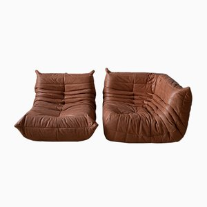 Peach Leather Togo Armchair & Corner Set by Michel Ducaroy for Ligne Roset, 1970s, Set of 2