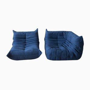Blauer Togo Armlehnstuhl & Eckgarnitur aus Mikrofaser von Michel Ducaroy für Ligne Roset, 1970er, 2er Set