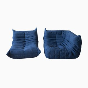 Blue Navy Microfiber Togo Armchair & Corner Set by Michel Ducaroy for Ligne Roset, 1970s, Set of 2