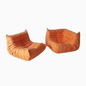 Juego de sofá y esquina Togo de microfibra naranja de Michel Ducaroy para Ligne Roset, años 70. Juego de 2